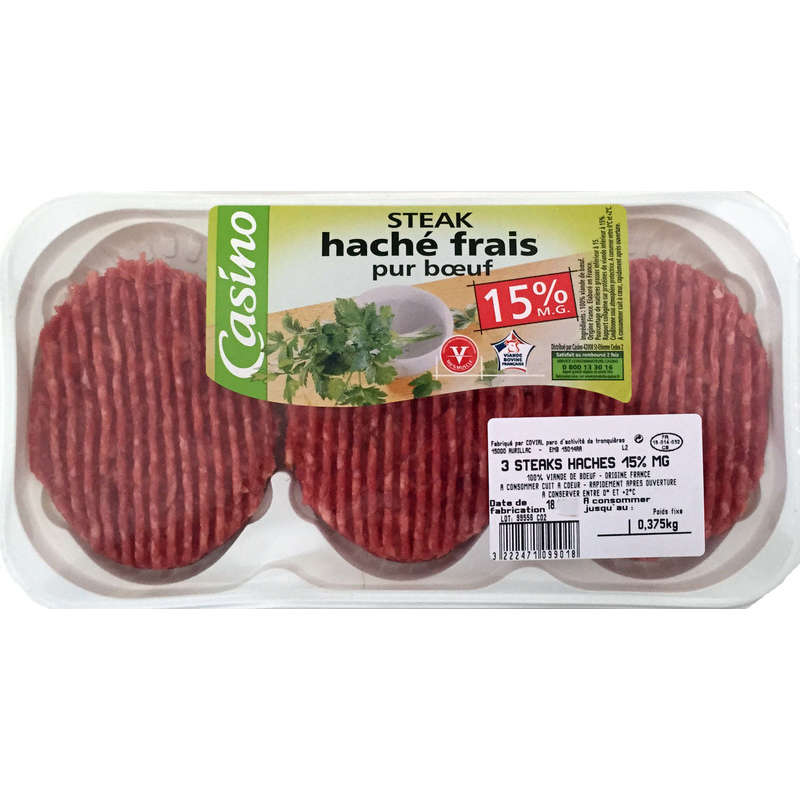 Steak haché 15% MG